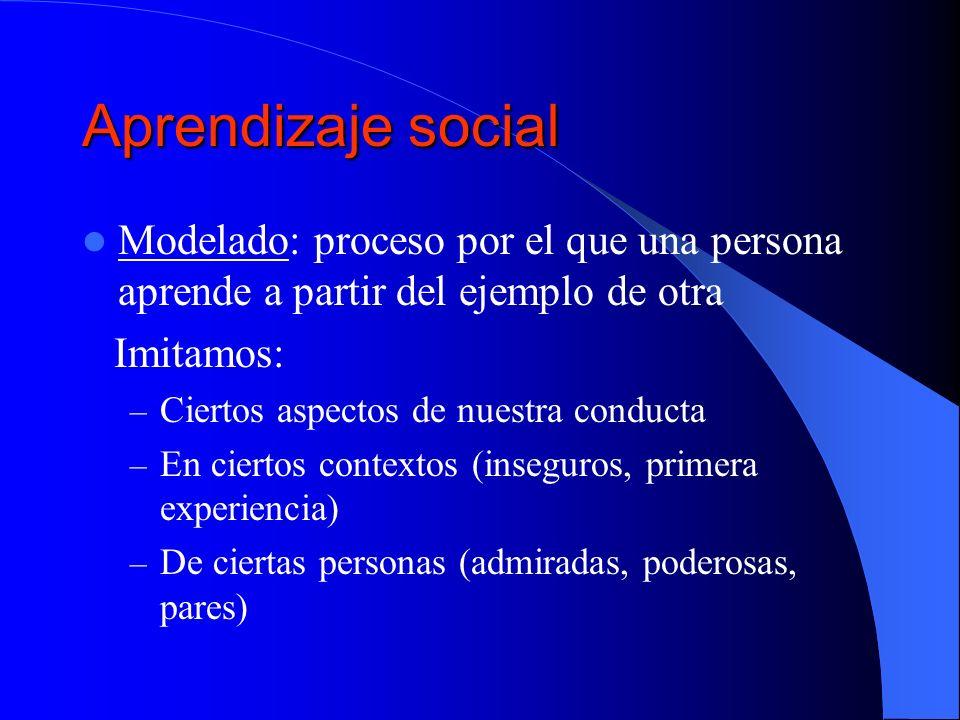 Aprendizaje social Modelado: proceso por el que una persona aprende a partir del ejemplo de otra Imitamos: – Ciertos aspectos de nuestra conducta – En