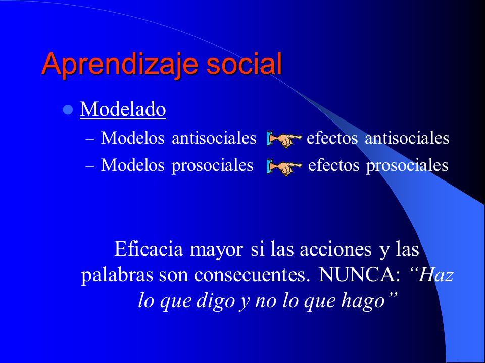 Aprendizaje social Modelado – Modelos antisociales efectos antisociales – Modelos prosociales efectos prosociales Eficacia mayor si las acciones y las