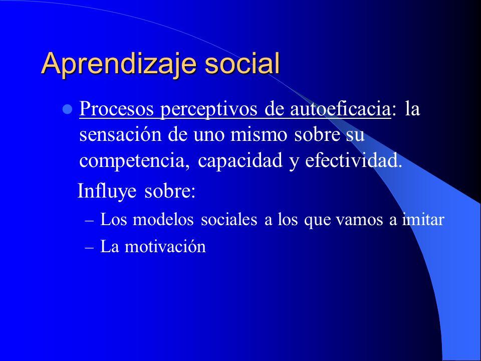 Aprendizaje social Procesos perceptivos de autoeficacia: la sensación de uno mismo sobre su competencia, capacidad y efectividad. Influye sobre: – Los
