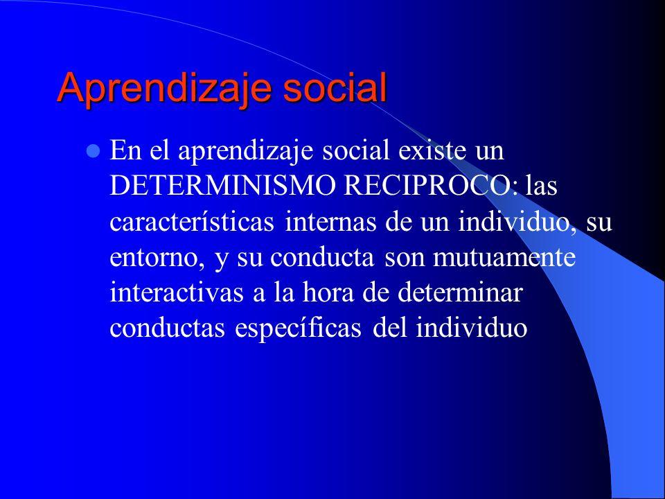 Aprendizaje social En el aprendizaje social existe un DETERMINISMO RECIPROCO: las características internas de un individuo, su entorno, y su conducta
