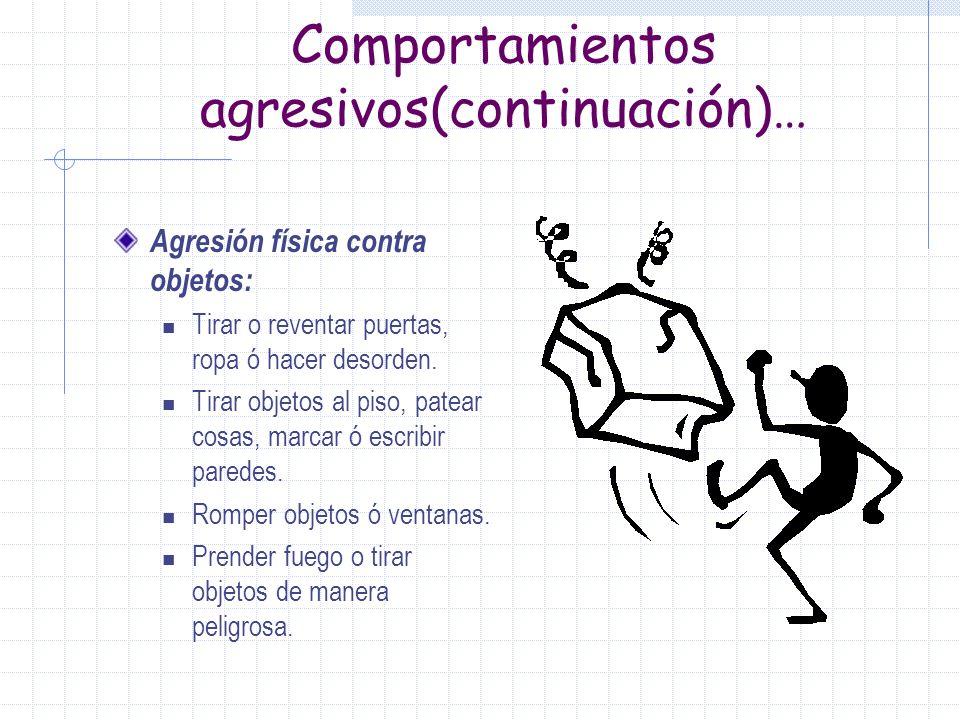 Tipos de Comportamientos agresivos Agresión Verbal: Ruidos altos, gritar. Insultos personales leves (ej. Eres un estúpido). Maldecir, usar lenguaje in