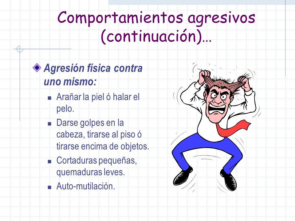 Comportamientos agresivos(continuación)… Agresión física contra objetos: Tirar o reventar puertas, ropa ó hacer desorden. Tirar objetos al piso, patea