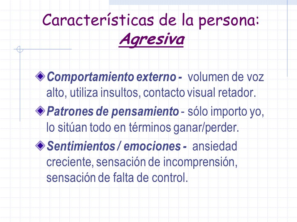 Características de la Persona: NO Asertiva Comportamiento externo: voz baja, tatamudea, vacilaciones, evita contacto visual, frecuentes quejas a terce