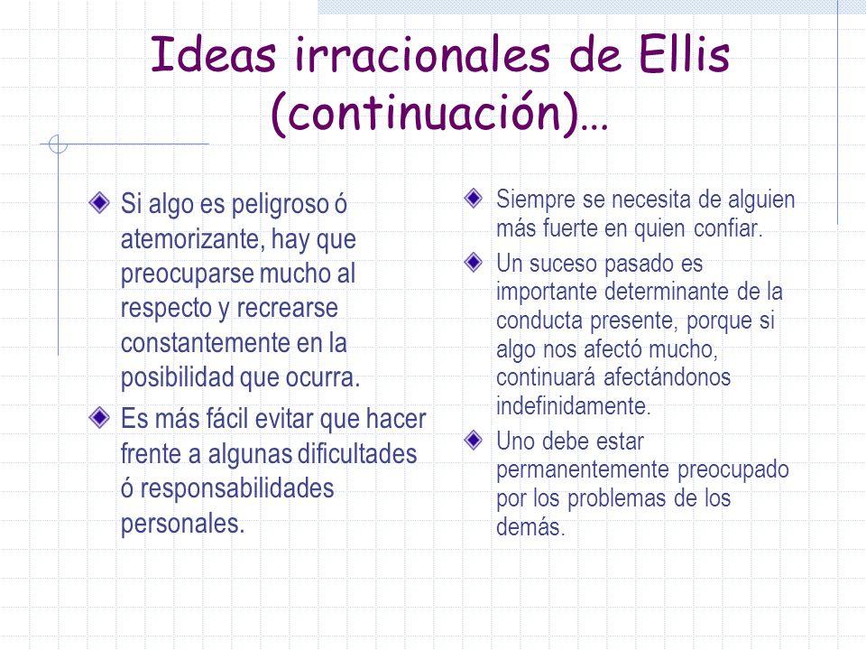 Ideas irracionales de Ellis Es necesario para un ser humano ser querido y aceptado por todo el mundo. Tenemos que ser muy competentes y saber resolver