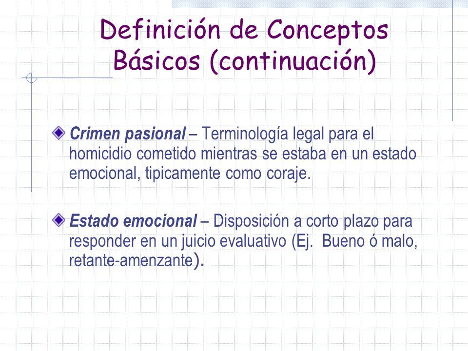 Definición de Conceptos Básicos Coraje – Estado emocional que involucra tanto la atribución de culpa, que percibimos como incorrecto y el impulso de c