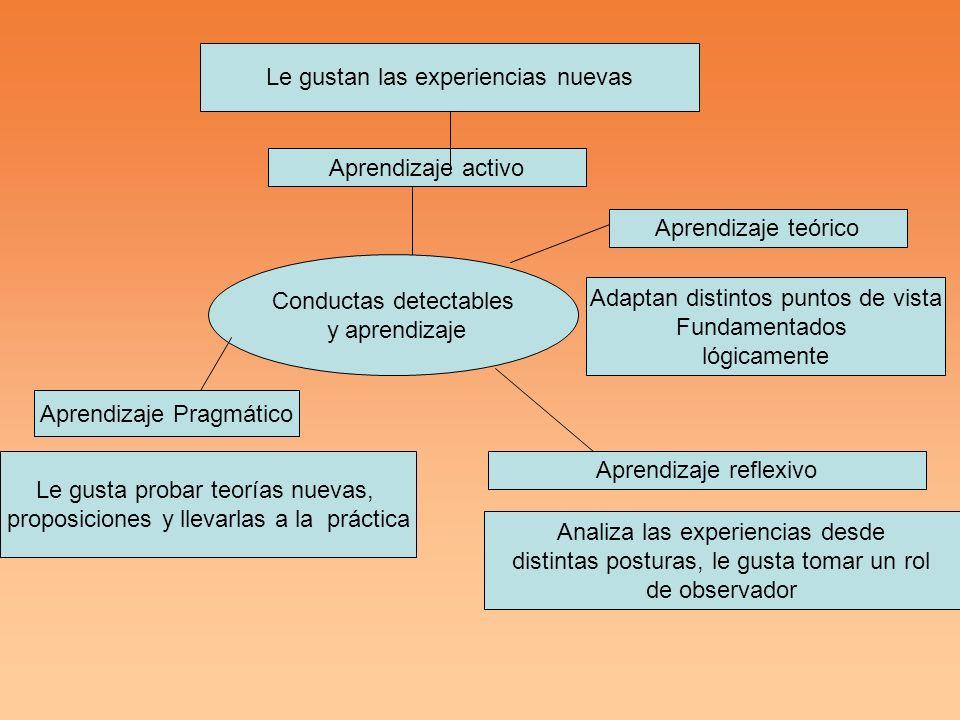 Conductas detectables y aprendizaje Aprendizaje activo Le gustan las experiencias nuevas Aprendizaje reflexivo Analiza las experiencias desde distinta