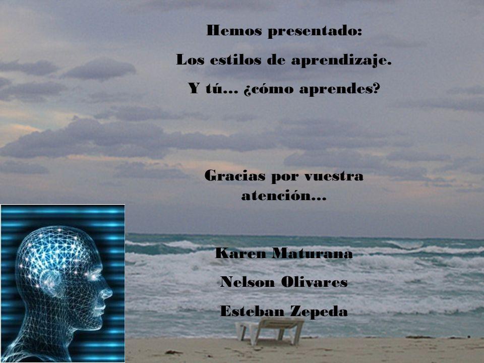 Hemos presentado: Los estilos de aprendizaje. Y tú… ¿cómo aprendes? Gracias por vuestra atención… Karen Maturana Nelson Olivares Esteban Zepeda
