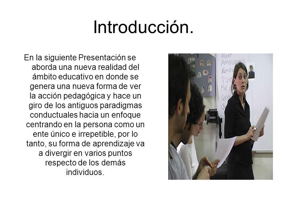 Introducción. En la siguiente Presentación se aborda una nueva realidad del ámbito educativo en donde se genera una nueva forma de ver la acción pedag