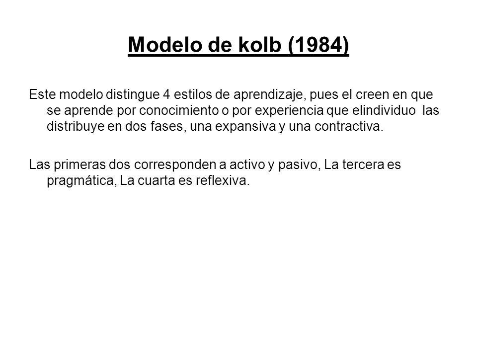 Modelo de kolb (1984) Este modelo distingue 4 estilos de aprendizaje, pues el creen en que se aprende por conocimiento o por experiencia que elindivid