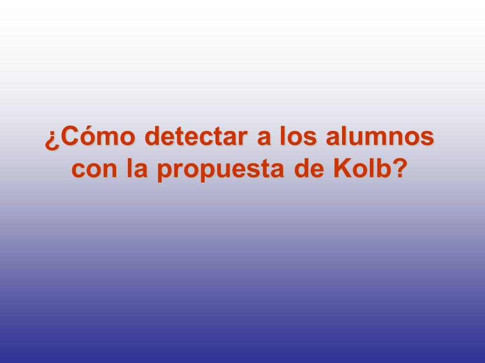 ¿Cómo detectar a los alumnos con la propuesta de Kolb?