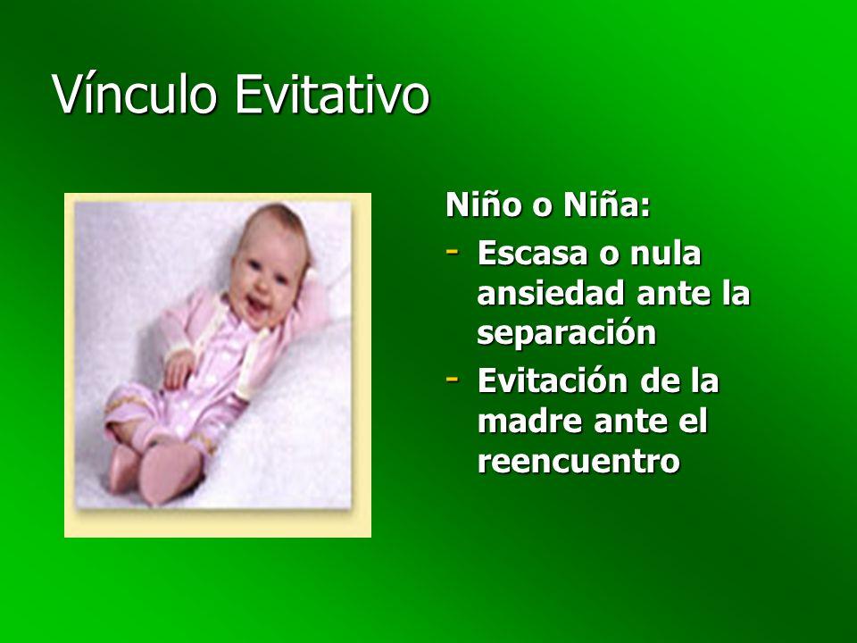 Vínculo Evitativo Niño o Niña: - Escasa o nula ansiedad ante la separación - Evitación de la madre ante el reencuentro