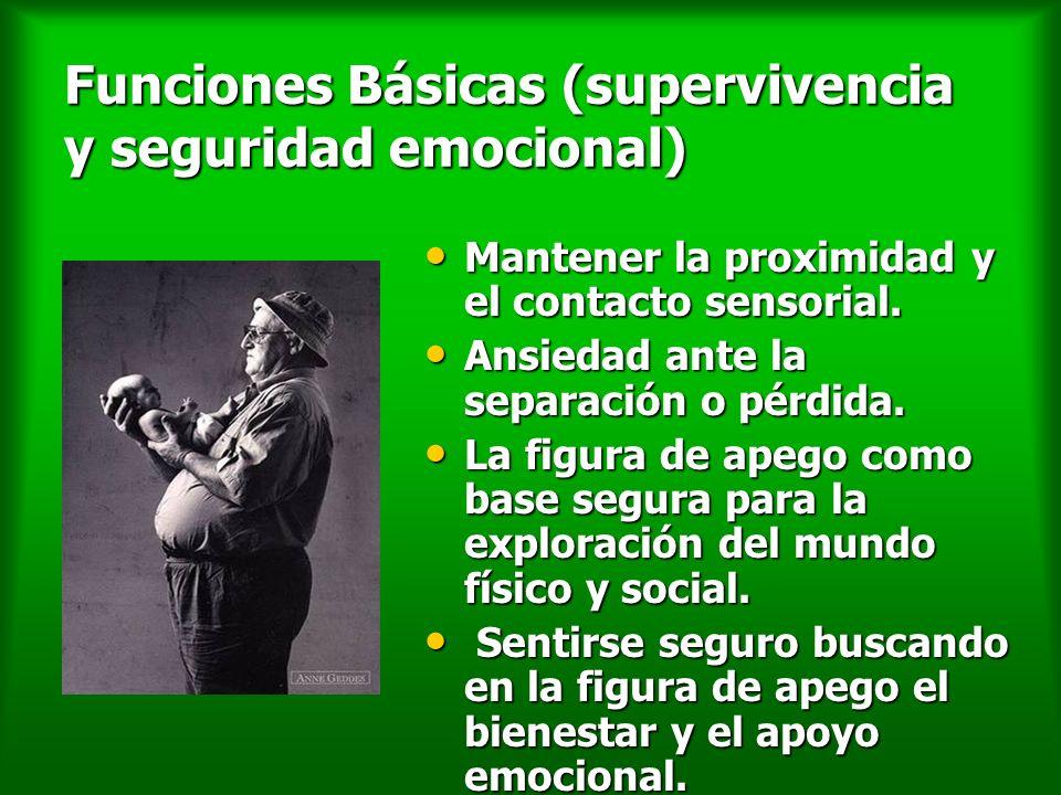 Funciones Básicas (supervivencia y seguridad emocional) Mantener la proximidad y el contacto sensorial. Mantener la proximidad y el contacto sensorial