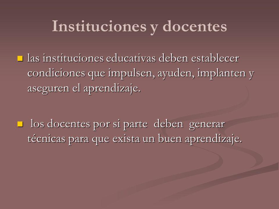 Instituciones y docentes las instituciones educativas deben establecer condiciones que impulsen, ayuden, implanten y aseguren el aprendizaje. las inst