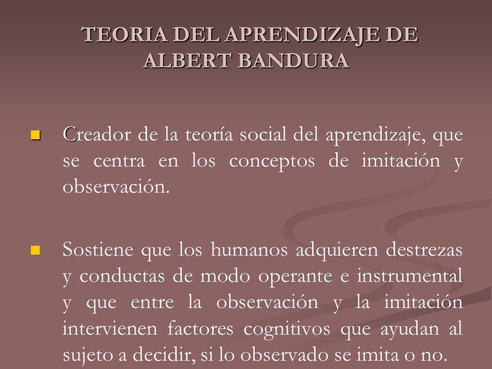TEORIA DEL APRENDIZAJE DE ALBERT BANDURA TEORIA DEL APRENDIZAJE DE ALBERT BANDURA C Creador de la teoría social del aprendizaje, que se centra en los