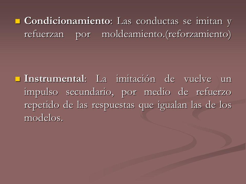 Condicionamiento: Las conductas se imitan y refuerzan por moldeamiento.(reforzamiento) Condicionamiento: Las conductas se imitan y refuerzan por molde