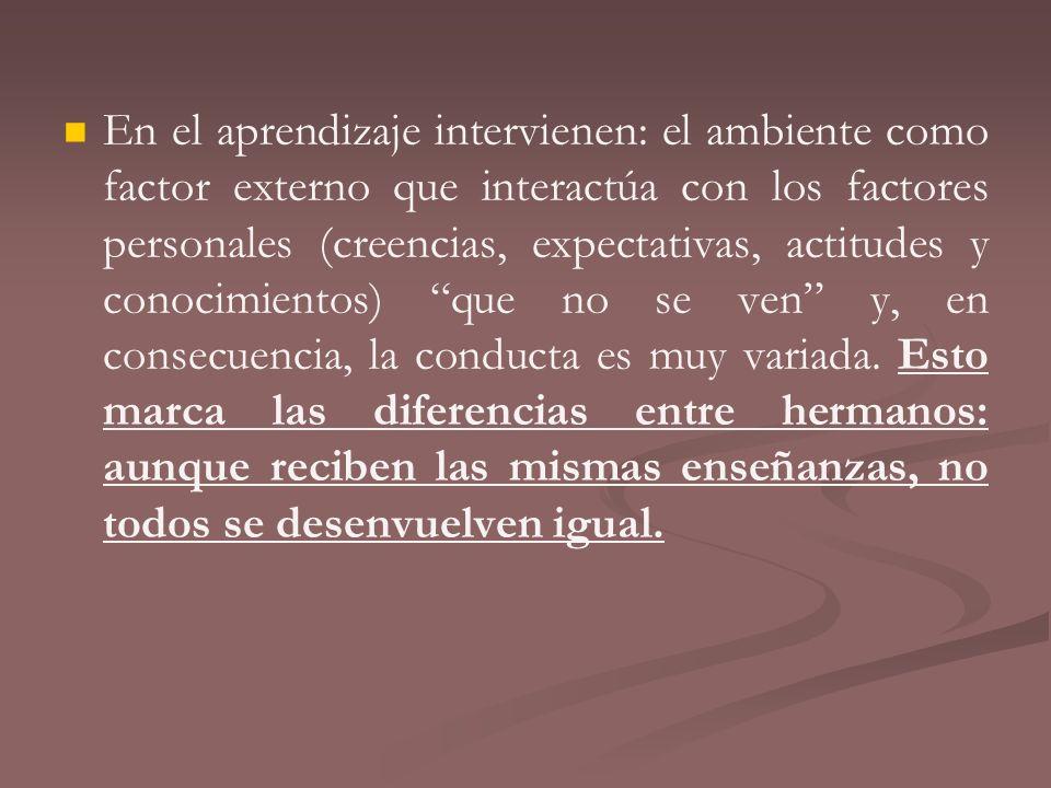 En el aprendizaje intervienen: el ambiente como factor externo que interactúa con los factores personales (creencias, expectativas, actitudes y conoci