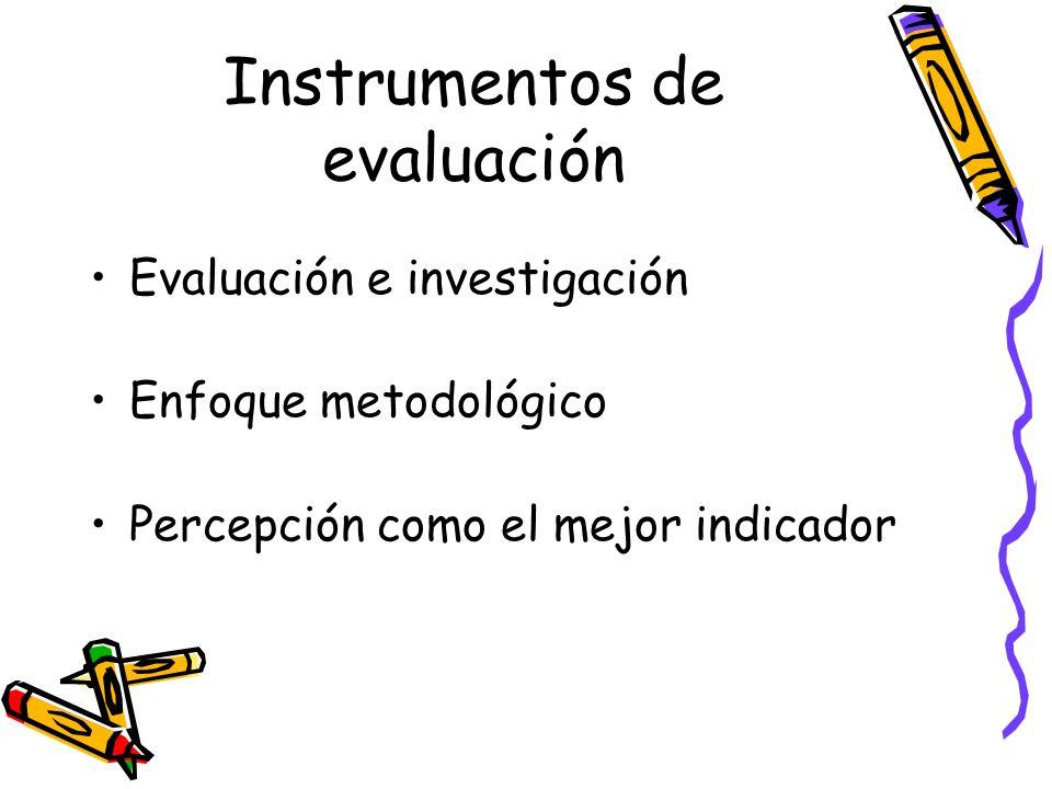 Instrumentos de evaluación Evaluación e investigación Enfoque metodológico Percepción como el mejor indicador
