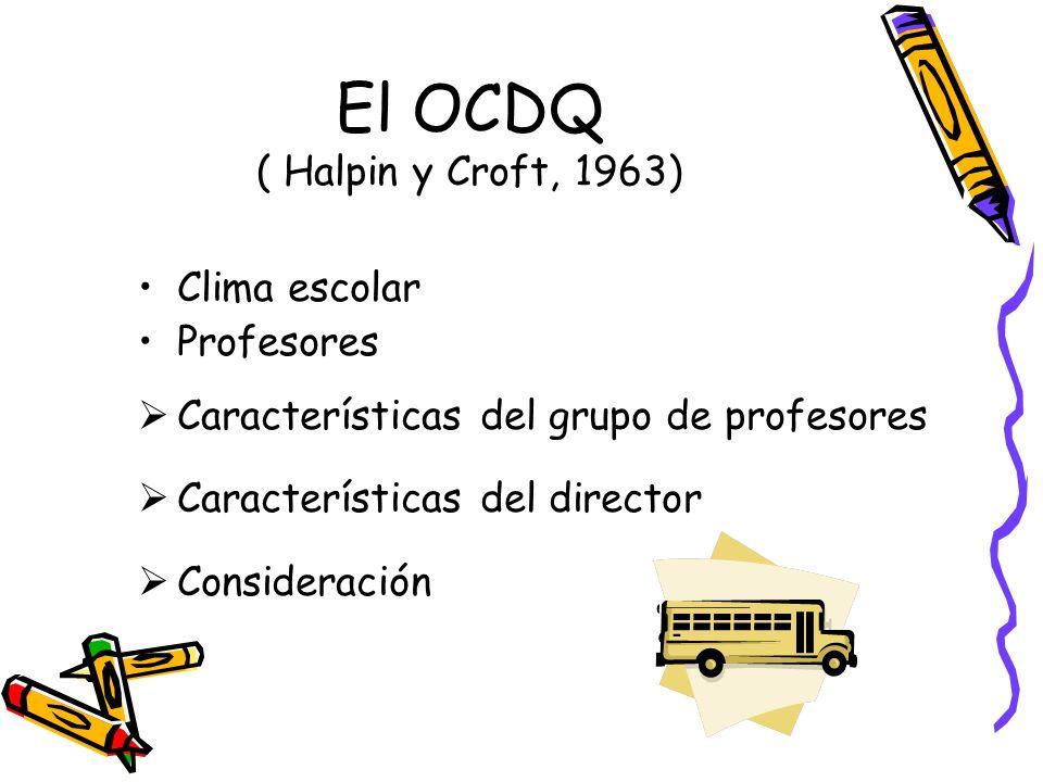 El OCDQ ( Halpin y Croft, 1963) Clima escolar Profesores Características del grupo de profesores Características del director Consideración