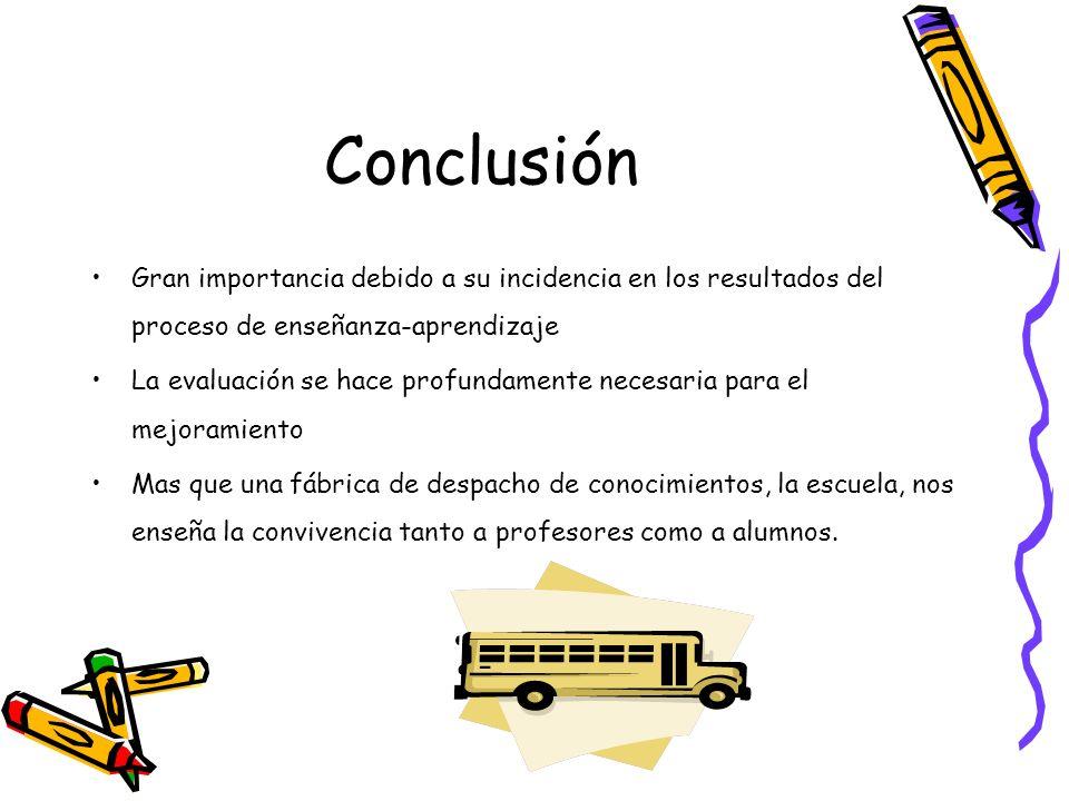Conclusión Gran importancia debido a su incidencia en los resultados del proceso de enseñanza-aprendizaje La evaluación se hace profundamente necesari