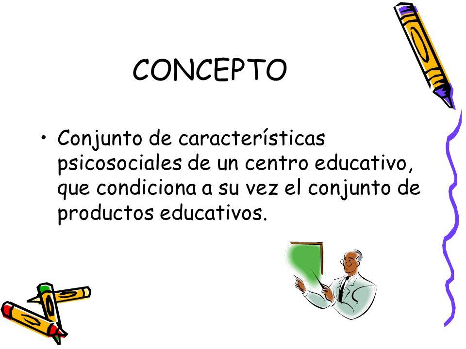 CONCEPTO Conjunto de características psicosociales de un centro educativo, que condiciona a su vez el conjunto de productos educativos.