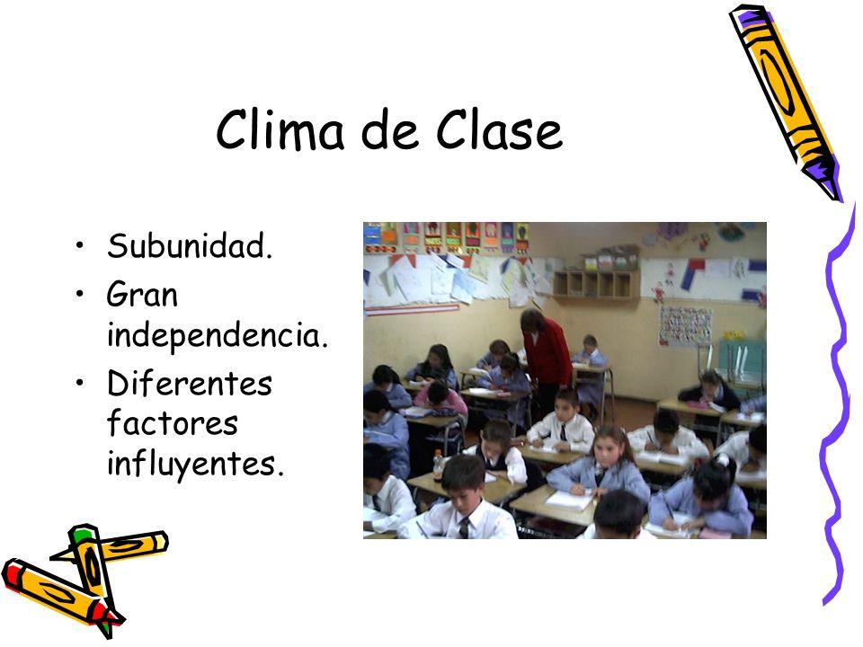 Clima de Clase Subunidad. Gran independencia. Diferentes factores influyentes.