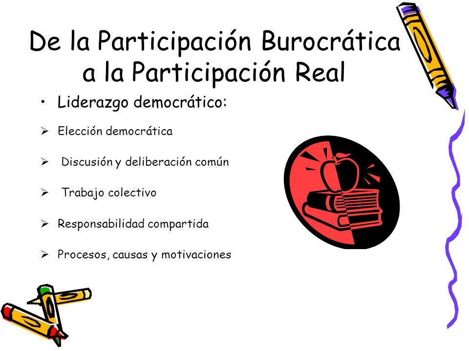 De la Participación Burocrática a la Participación Real Liderazgo democrático: Elección democrática Discusión y deliberación común Trabajo colectivo R