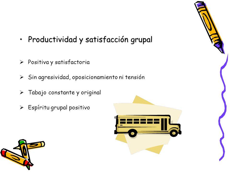 Productividad y satisfacción grupalProductividad y satisfacción grupal Positiva y satisfactoria Sin agresividad, oposicionamiento ni tensión Tabajo co