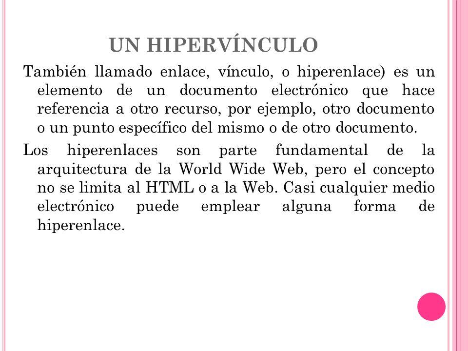 UN HIPERVÍNCULO También llamado enlace, vínculo, o hiperenlace) es un elemento de un documento electrónico que hace referencia a otro recurso, por eje