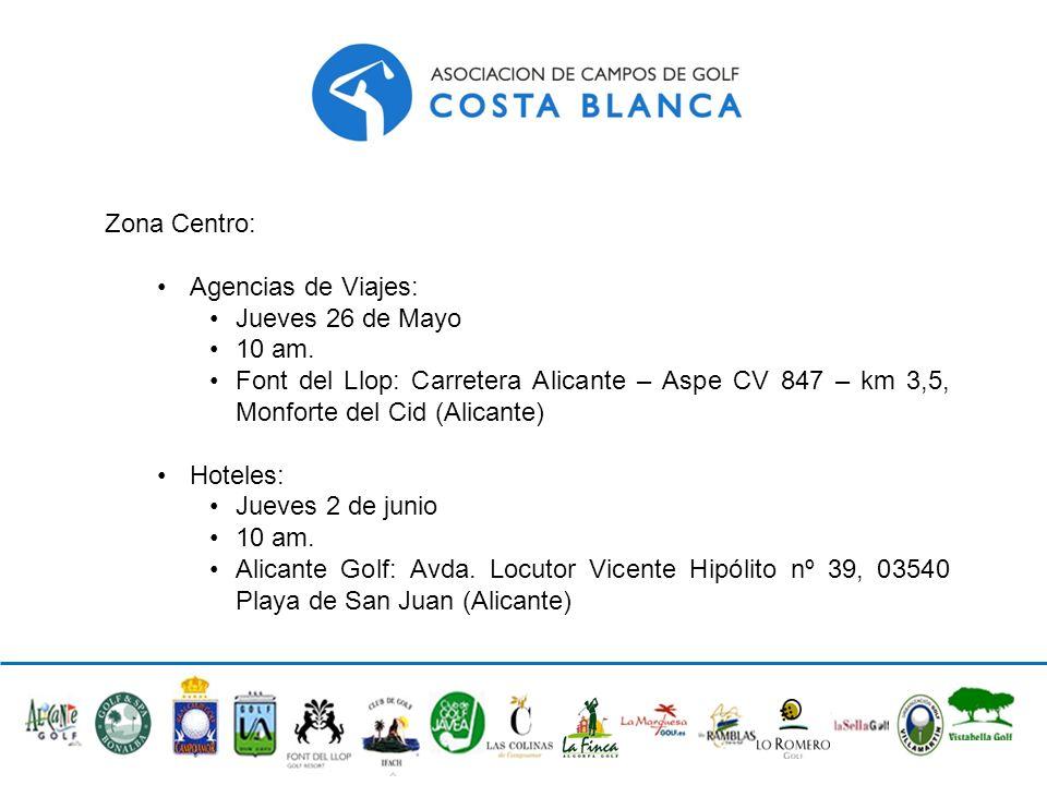 Zona Centro: Agencias de Viajes: Jueves 26 de Mayo 10 am. Font del Llop: Carretera Alicante – Aspe CV 847 – km 3,5, Monforte del Cid (Alicante) Hotele