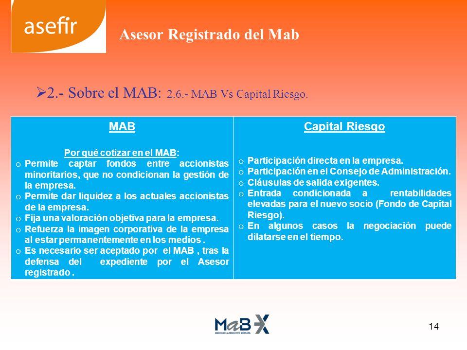 2.- Sobre el MAB: 2.6.- MAB Vs Capital Riesgo. MAB Por qué cotizar en el MAB: o Permite captar fondos entre accionistas minoritarios, que no condicion