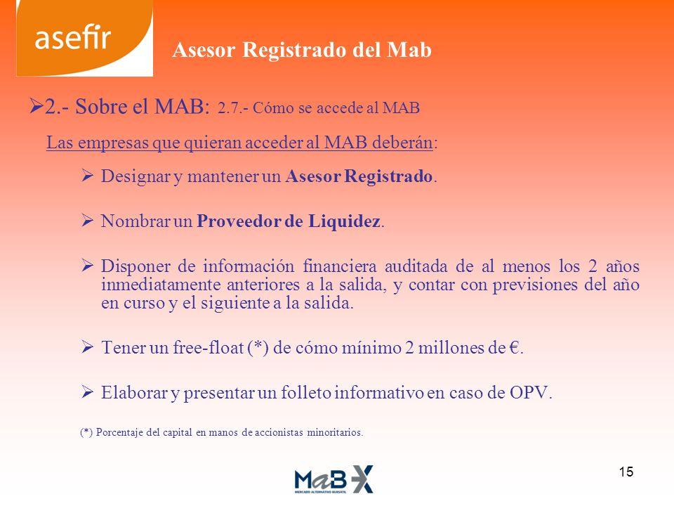 Las empresas que quieran acceder al MAB deberán: Designar y mantener un Asesor Registrado. Nombrar un Proveedor de Liquidez. Disponer de información f