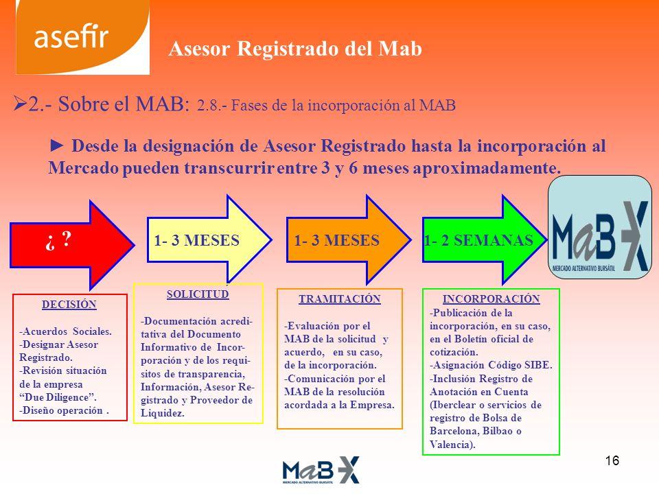 TRAMITACIÓN -Evaluación por el MAB de la solicitud y acuerdo, en su caso, de la incorporación. -Comunicación por el MAB de la resolución acordada a la