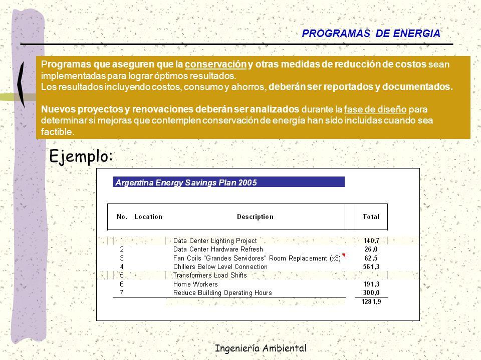 Ingeniería Ambiental PROGRAMAS DE ENERGIA Programas que aseguren que la conservación y otras medidas de reducción de costos sean implementadas para lo