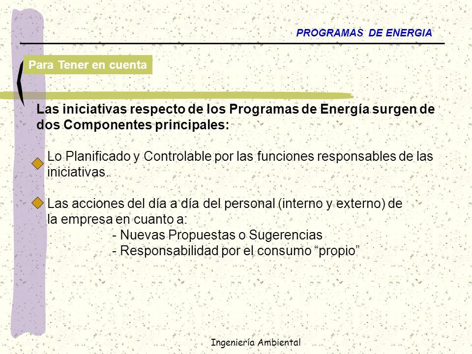 Ingeniería Ambiental PROGRAMAS DE ENERGIA Para Tener en cuenta Las iniciativas respecto de los Programas de Energía surgen de dos Componentes principa