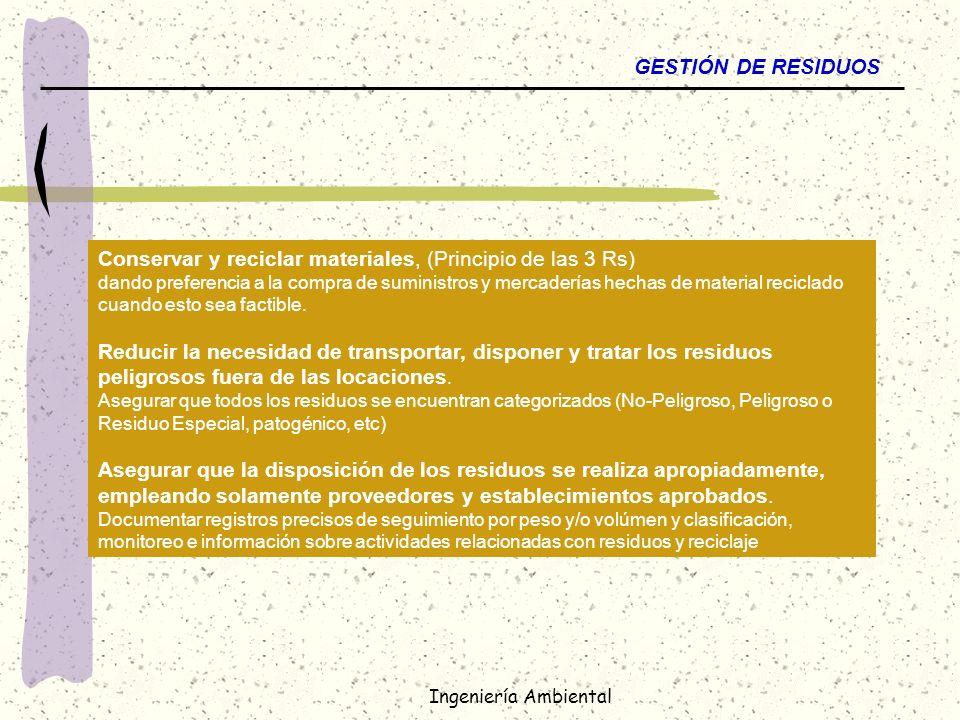 Ingeniería Ambiental GESTIÓN DE RESIDUOS Conservar y reciclar materiales, (Principio de las 3 Rs) dando preferencia a la compra de suministros y merca