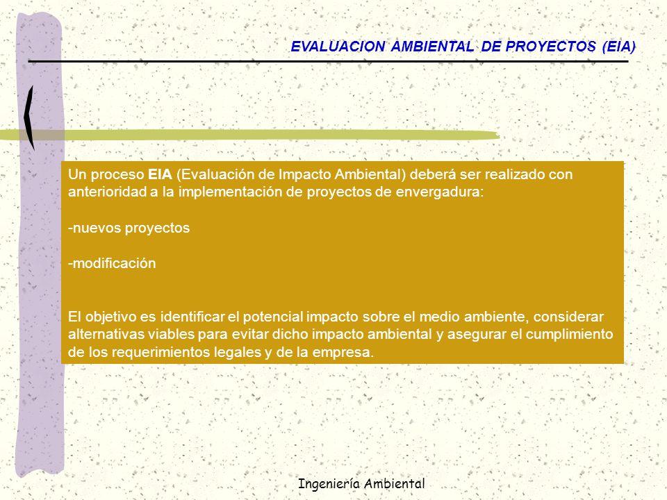 Ingeniería Ambiental EVALUACION AMBIENTAL DE PROYECTOS (EIA) Un proceso EIA (Evaluación de Impacto Ambiental) deberá ser realizado con anterioridad a