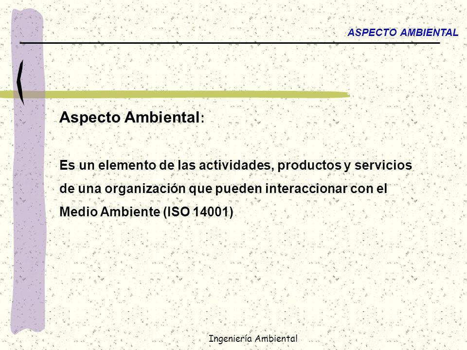 Ingeniería Ambiental ASPECTO AMBIENTAL Aspecto Ambiental Aspecto Ambiental : Es un elemento de las actividades, productos y servicios de una organizac