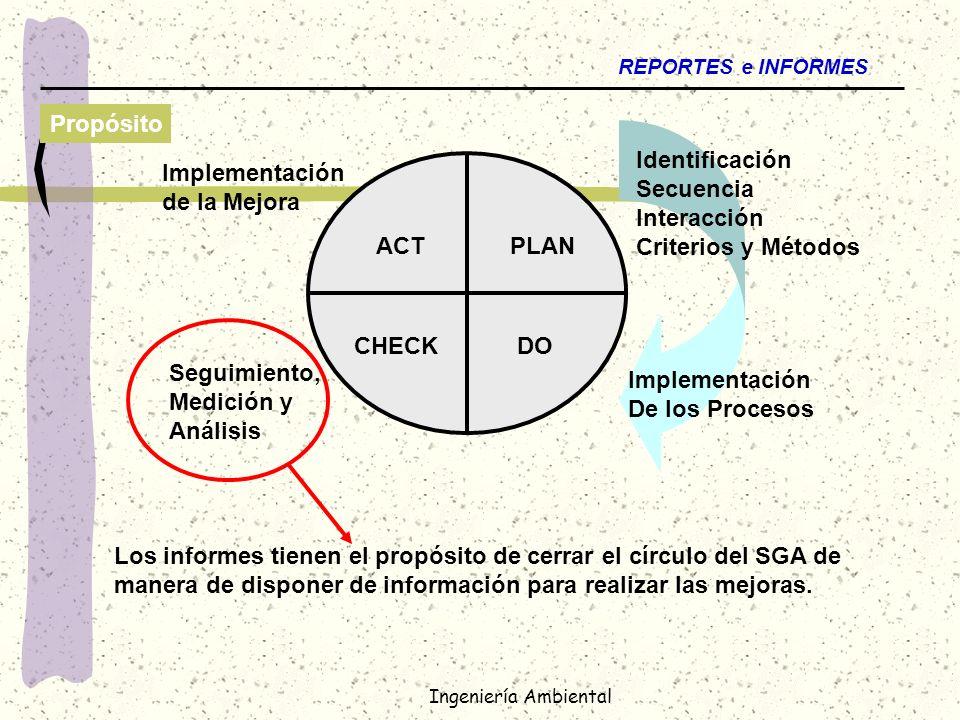 Ingeniería Ambiental REPORTES e INFORMES Propósito Los informes tienen el propósito de cerrar el círculo del SGA de manera de disponer de información