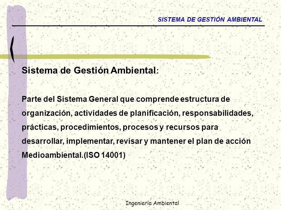 Ingeniería Ambiental LAS DIMENSIONES DEL MA PLANO de los CAUSAS y EFECTOS (Procesos) PLANO del MGMT SYSTEM PLANO de los GRUPOS de INTERES CAMBIO CONTINUO COMUNIDAD GOBIERNO ONG MUNICIPIOS CLIENTES OBJETIVOS IMPLEMENTACION MEDICION Y CONTROL ACCIONES CORRECTIVAS INFORMES ESTRATEGIA QUIMICOS RESIDUOS AIRE AGUA PROC PRODUCTIVOS SALUD
