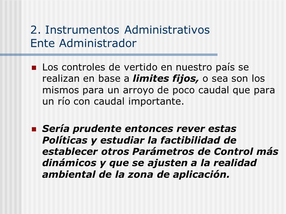 2. Instrumentos Administrativos Ente Administrador Los controles de vertido en nuestro país se realizan en base a limites fijos, o sea son los mismos