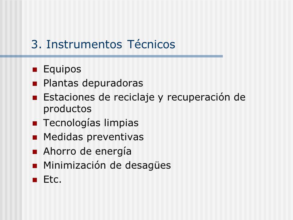 3. Instrumentos Técnicos Equipos Plantas depuradoras Estaciones de reciclaje y recuperación de productos Tecnologías limpias Medidas preventivas Ahorr