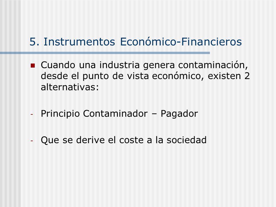 5. Instrumentos Económico-Financieros Cuando una industria genera contaminación, desde el punto de vista económico, existen 2 alternativas: - Principi