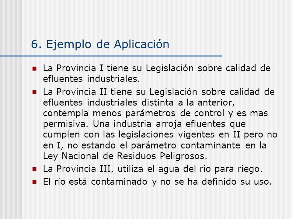6. Ejemplo de Aplicación La Provincia I tiene su Legislación sobre calidad de efluentes industriales. La Provincia II tiene su Legislación sobre calid