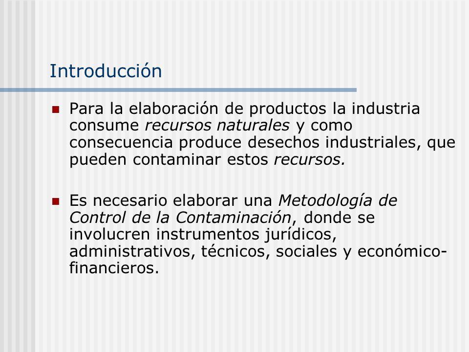Introducción Para la elaboración de productos la industria consume recursos naturales y como consecuencia produce desechos industriales, que pueden contaminar estos recursos.