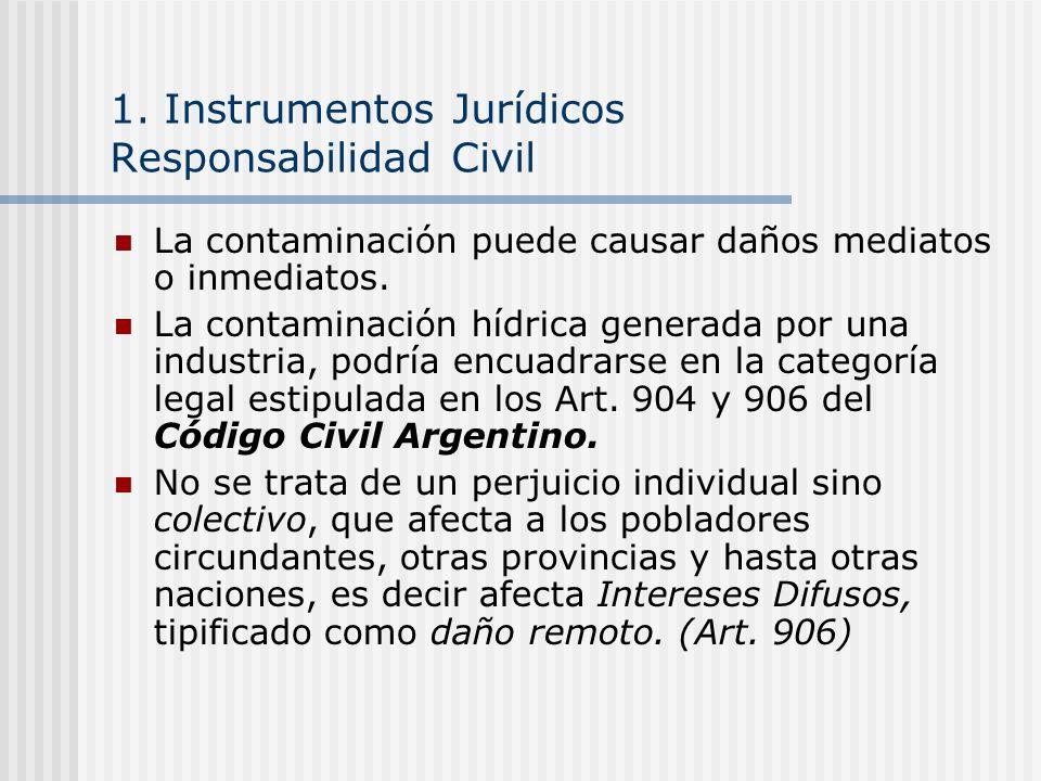 1. Instrumentos Jurídicos Responsabilidad Civil La contaminación puede causar daños mediatos o inmediatos. La contaminación hídrica generada por una i