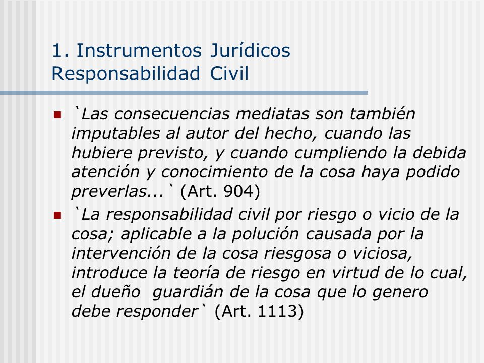 1. Instrumentos Jurídicos Responsabilidad Civil `Las consecuencias mediatas son también imputables al autor del hecho, cuando las hubiere previsto, y