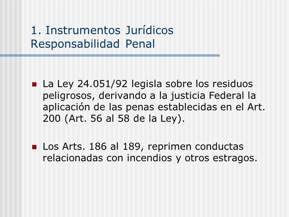 1. Instrumentos Jurídicos Responsabilidad Penal La Ley 24.051/92 legisla sobre los residuos peligrosos, derivando a la justicia Federal la aplicación