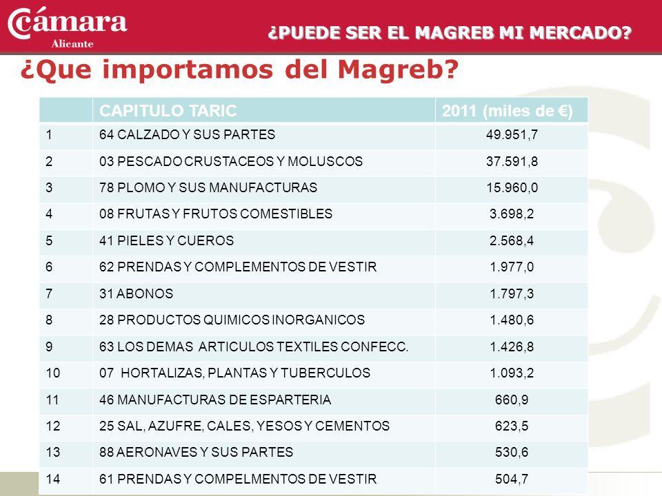 ¿PUEDE SER EL MAGREB MI MERCADO? ¿Que importamos del Magreb? CAPITULO TARIC2011 (miles de ) 164 CALZADO Y SUS PARTES49.951,7 203 PESCADO CRUSTACEOS Y