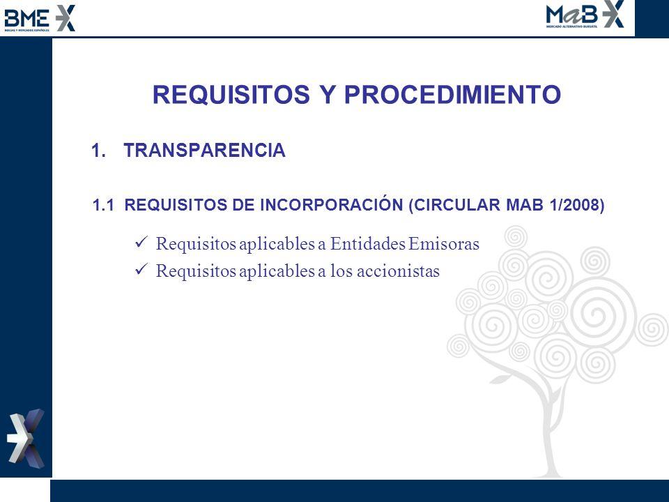 REQUISITOS Y PROCEDIMIENTO 1.TRANSPARENCIA 1.1 REQUISITOS DE INCORPORACIÓN (CIRCULAR MAB 1/2008) Requisitos aplicables a Entidades Emisoras Requisitos