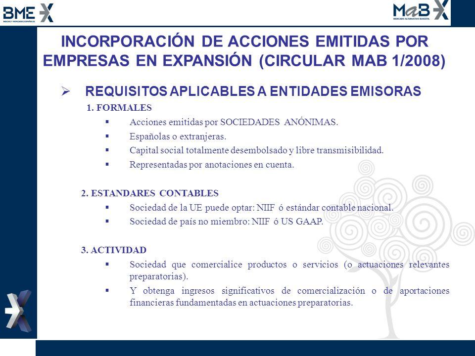 INCORPORACIÓN DE ACCIONES EMITIDAS POR EMPRESAS EN EXPANSIÓN (CIRCULAR MAB 1/2008) REQUISITOS APLICABLES A ENTIDADES EMISORAS 1. FORMALES Acciones emi